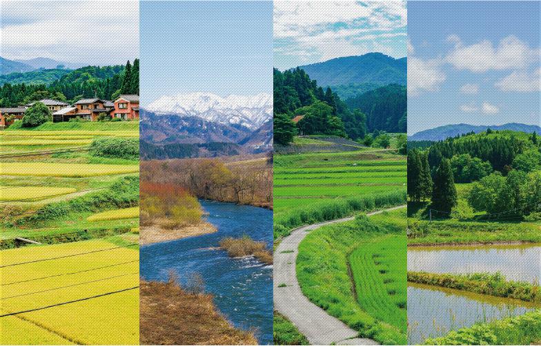 日本の原風景が残る山里や水田の美しい景色